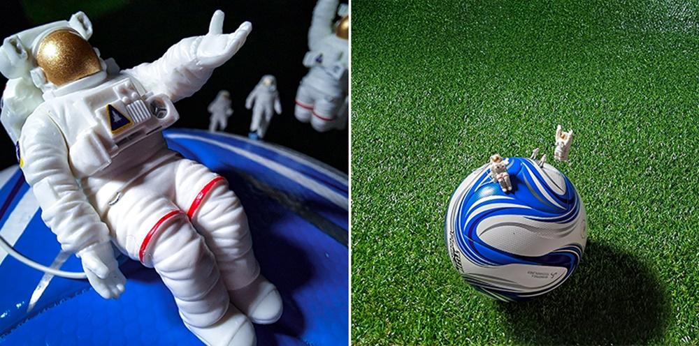 A. 우주의 행성처럼 보이던 구체의 정체는, 잔디 위의 축구공.