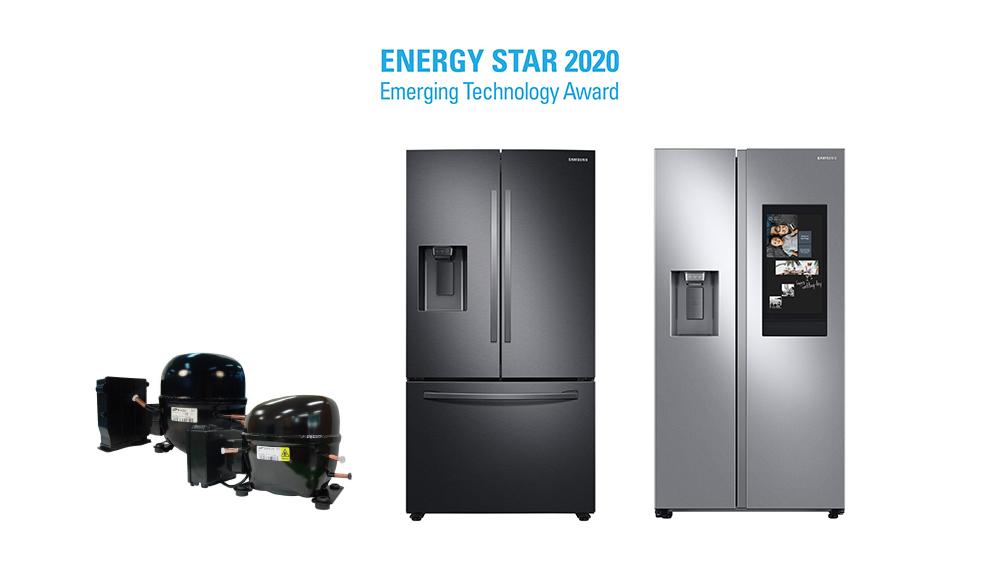 ENERGY STAR 2020 Emerging Technology Award를 수상한 삼성 냉장고와 디지털 인버터 컴프레서