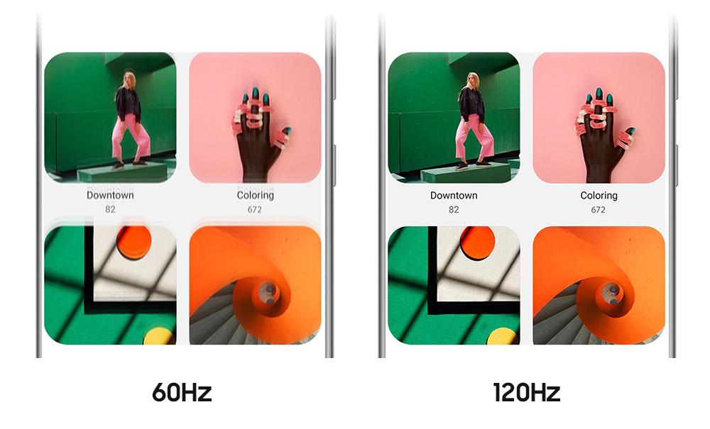 60hz로 흐르는 화면 vs 120hz르 호르는 화면