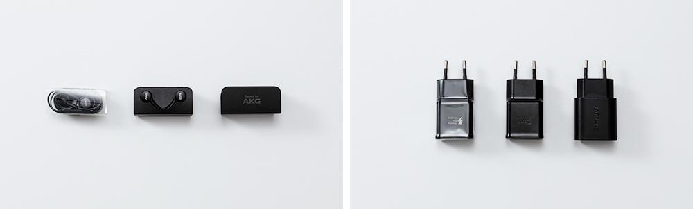 갤럭시 S9·S10·S20 순으로 진열된 이어폰과 충전기 패키지. 플라스틱 필름 유·무 여부를 눈으로 확연하게 느낄 수 있다.