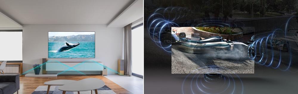 ▲ 소리가 하단에서만 나왔던 기존 TV(왼쪽)와 상하좌우 배치된 스피커를 통해 소리가 화면 중앙에서 나오는 QLED 8K TV