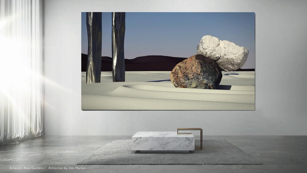 화성의 게일 분화구를 배경으로 석조 조각 정원을 묘사한 미국의 데브 할런(Dev Harlan)이 출품한 '화성 정원 I – 인력(Areo Gardens I – Attraction)