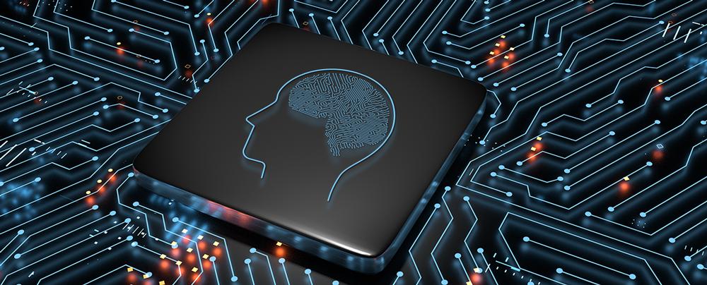 전자 회로에 사람 뇌 모양으로 표현된 AI 이미지