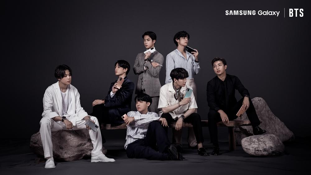 방탄소년단(BTS)이 삼성 '갤럭시 노트20'을 소개하고 있는 모습
