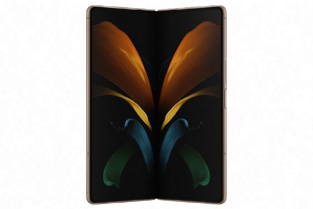 SAMSUNG Galaxy Z Fold2가 세로로 놓여있다.