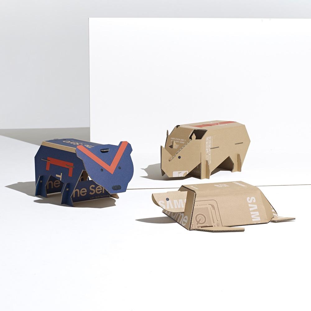 삼성전자가 영국 디자인 전문 매체 '디진(Dezeen)'과 공동 주최한 에코 패키지 디자인 공모전 '아웃 오브 더 박스' 에서 최종 우승한 'Endangered Animal'.