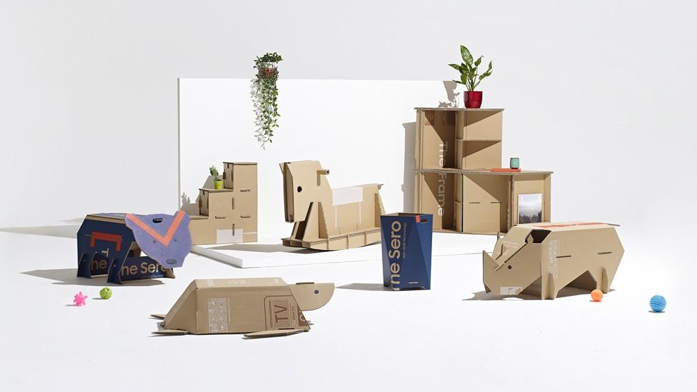 삼성전자가 영국 디자인 전문 매체 '디진(Dezeen)'과 공동 주최한 에코 패키지 디자인 공모전 '아웃 오브 더 박스' 의 파이널리스트 수상 작품들.
