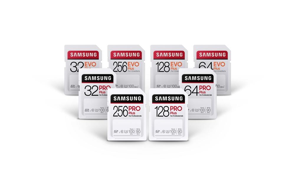 앞열에는 삼성전자 SD카드 'PRO Plus'가 뒷열에는 'EVO Plus'가 있다.