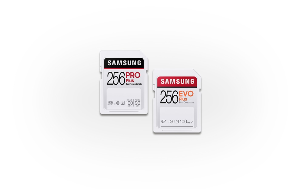 삼성전자 SD카드 'PRO Plus' 와 'EVO Plus' 256GB 용량의 제품 사진