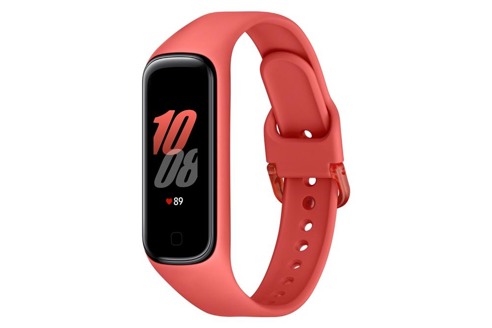 스칼렛 색상 삼성 '갤럭시 핏2' 우측 옆라인을 보여주는 제품 이미지