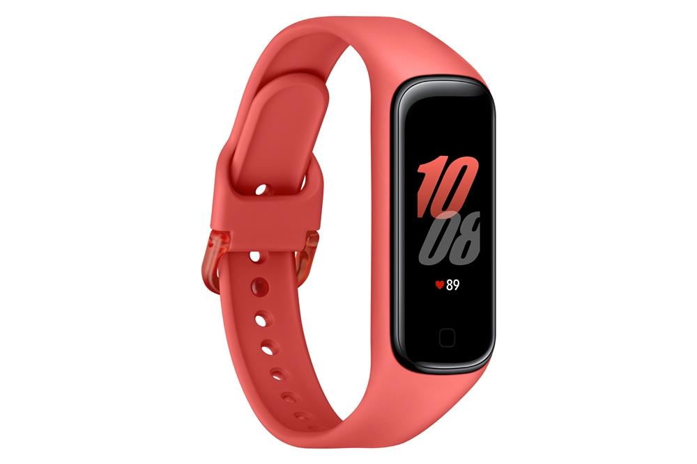 스칼렛 색상 삼성 '갤럭시 핏2' 좌측 옆라인을 보여주는 제품 이미지