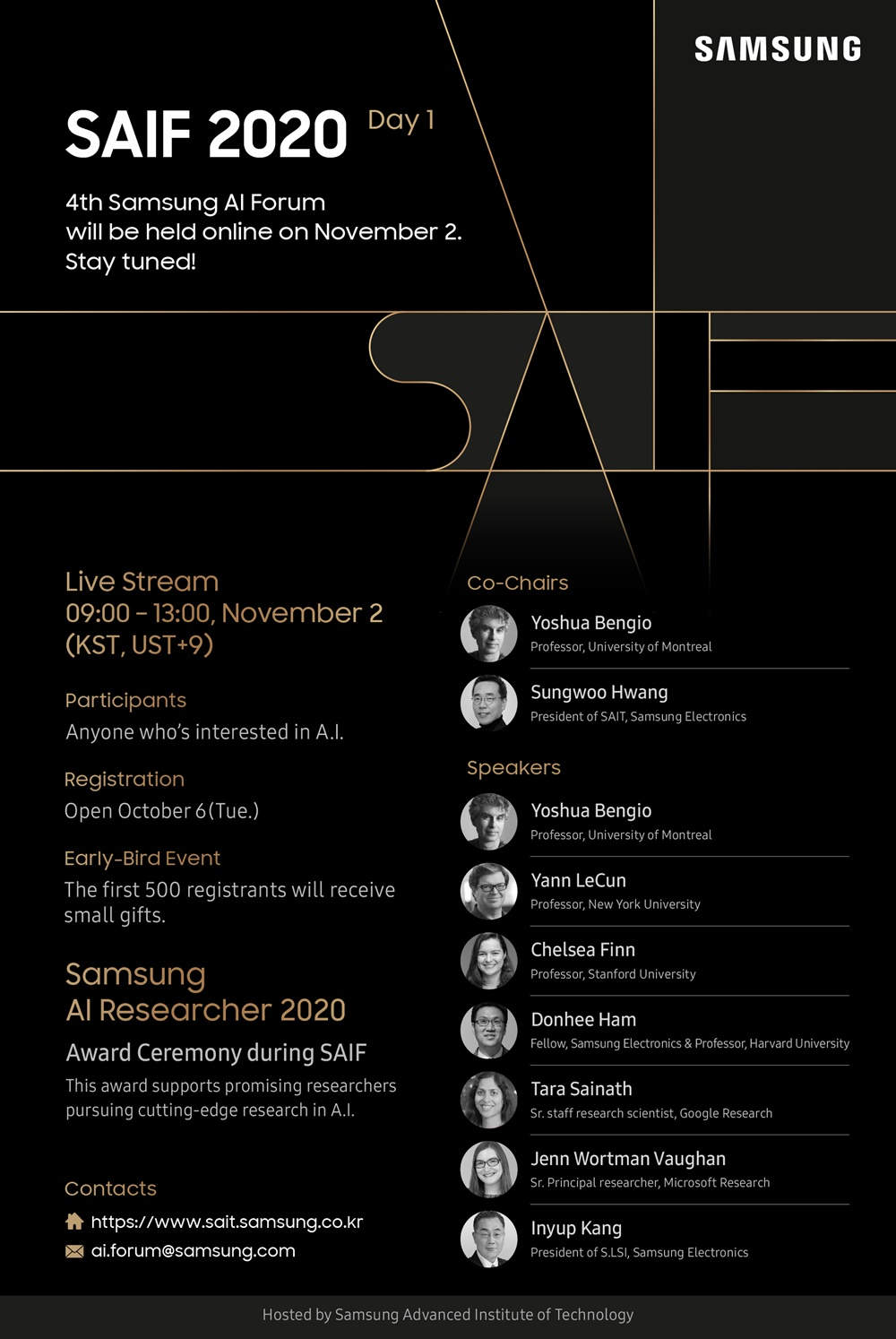 SAMSUNG SAIF 2020 Day1 4th Samsung AI Forum will be hold onilne on November 2. Story tuned