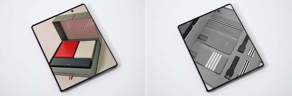 두 가지 톰브라운 전용 필터로 박스와 스트랩 등 내부 구성을 각각 촬영한 모습