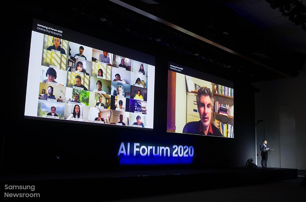 AI 포럼 첫날 강인엽 삼성전자 시스템 LSI 사업부장(사장)과 발표자들이 참석한 온라인 라이브 패널 토론
