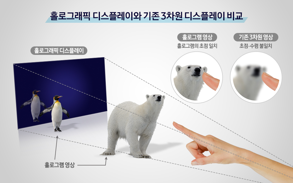 홀로그래픽 디스플레이와 기존 3차원 디스플레이 비교 홀로그래픽 디스플레이에 홀로그램 영상인 펭귄과 북극곰을 띄운 모습 홀로그램 영상은 손고락과 홀로그램의 초점이 일치되지만 기존 3차원 영상은 손가락과 북극곰이 초점-수렴이 불일치로 나타난다.