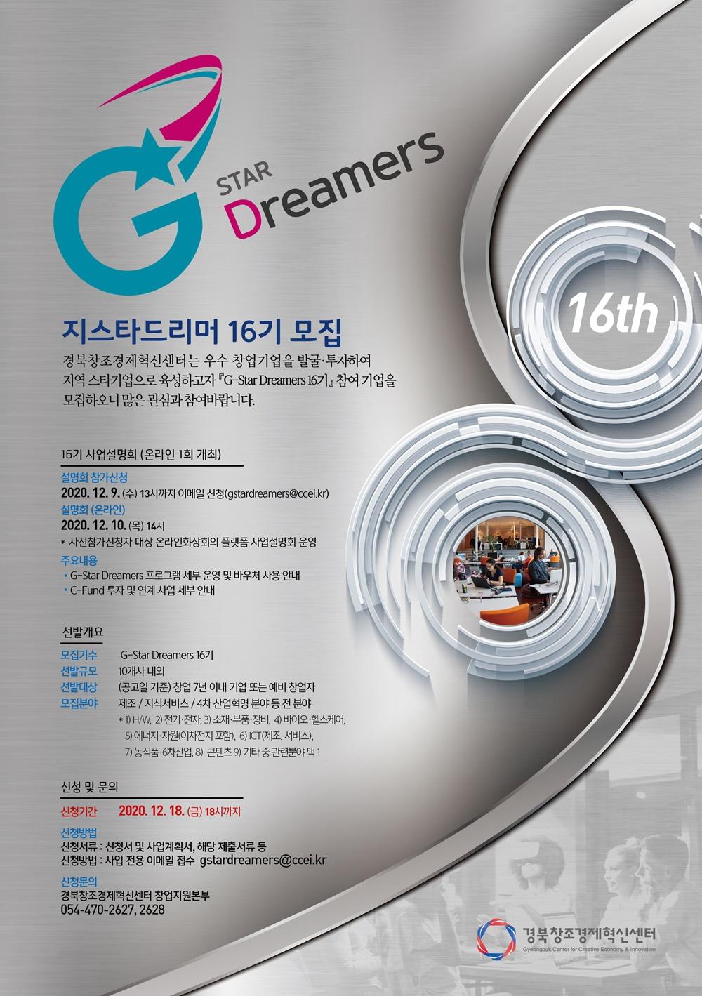 G STAR Dreamers 지스타드리머 16기 모집 경북창조경제혁신센터는 우수 창업기업을 발굴·투자하여 지역 스타기업으로 육성하고자 G STAR Dreamers 16기 참여 기업을 모집하오니 많은 관심과 참여바랍니다. 16기 사업설명회(온라인 1회 개최) 설명회 참가신청 2020.12.9.(수) 13시까지 이메일 신청(gstardreamers@ccei.kr) 설명회(온라인) 2020.12.10.(목) 14시*사전참가 신청자 대상 온라인화상회의 플랫폼 사업설명회 운영 주요내용 *G STAR Dreamers 프로그램 세부 운영 및 바우처 사용 안내 *C-FUND 투자 및 연계 사업 세부 안내 선발개요 모집기수 G STAR Dreamers 16기 선발규모 10개사 내외 선밸대상 (공고일 기준) 창업 7년 이내 기업 또는 예비 창업자 모집분야 제조 / 지식서비스 / 4차 산업혁명 분야 등 전 분야 1) H/W, 2)전기·전자, 3)소재·부품·장비, 4)바이오·헬스케어, 5)에너지·자원(이차전지 포함), 6)ICT(제조,서비스), 7)농식품·6차산업, 8)콘텐츠, 9)기타 중 관련분야 택 1 신청 및 문의 신청기간 2020.12.18(금) 18시까지 신청방법 신청서류: 신청서 및 사업계획서, 해당 제출서류 등 신청방법: 사업 전용 이메일 접수 gstardreamers@ccei.kr 신청문의 경북창조경제혁신센터 창업지원본부 054-470-2627,2628 경북창조경제혁신센터