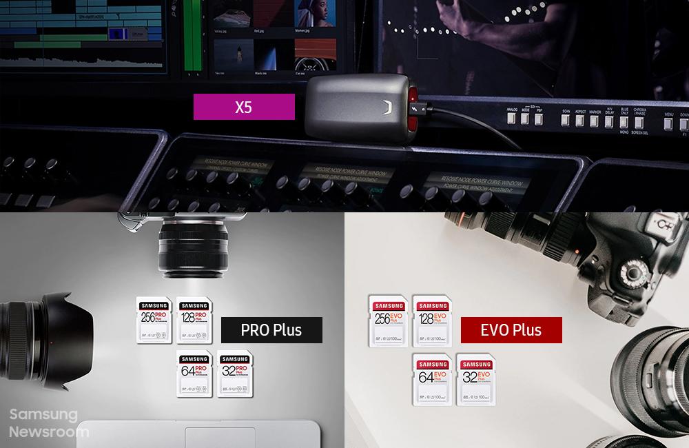 SSD X5와 SD카드 PRO Plus, EVO Plus가 포함된 라이프스타일 컷 콜라주