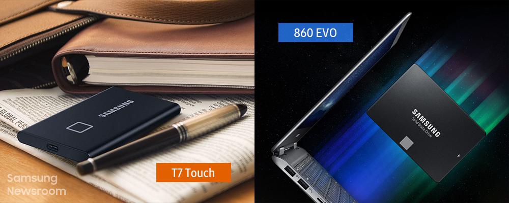 SSD T7 Touch와 860 EVO가 포함된 라이프스타일 컷 콜라주