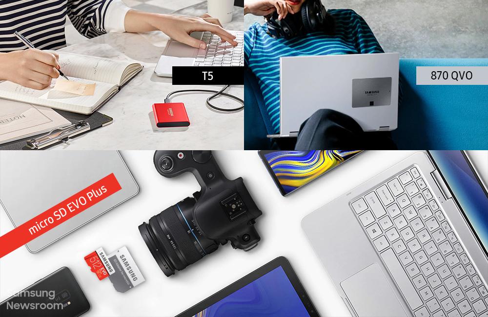 SSD T5와 870 QVO, SD카드 micro SD EVO Plus가 포함된 라이프스타일 컷 콜라주