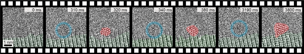 초고속 투과전자현미경을 활용해 관찰한 금 원자가 비결정상과 결정상의 상태를 반복하며 결정핵으로 성장하는 과정