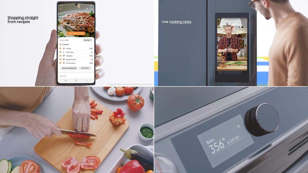 프레스 컨퍼런스 이미지 스마트폰, 냉장고 UI 화면, 도마에서 칼질하는 모습, 요리하는 기계의 시계