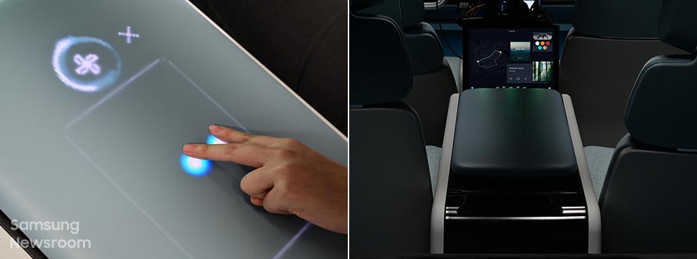 ▲뒷좌석 중앙 팔걸이에 위치한 컨트롤 디스플레이로 차량 내 온도·볼륨 등을 조절하는 모습(왼쪽)과 사용하지 않을 때의 모습(오른쪽)