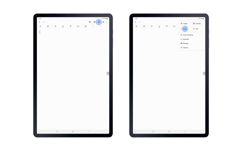 삼성 노트 앱의 '첨부' 아이콘을 누르고 문서를 스캔할 수 있는 아이콘이 추가돼, 스캔한 이미지가 바로 삼성 노트에 띄워져 열람과 편집을 바로 진행할 수 있다.