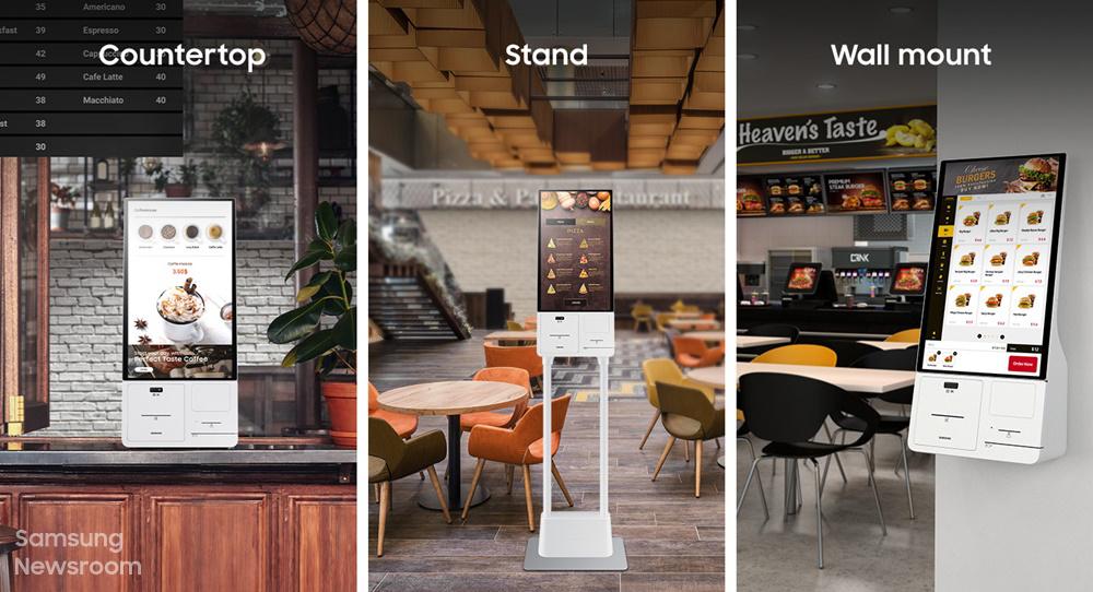Countertop Stand wall mount 3가지 삼성 키오스크 거치 형태