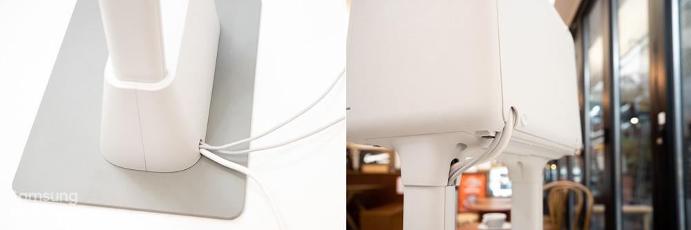 삼성 키오스크 하단 스탠드와 내장된 멀티탭 이미지