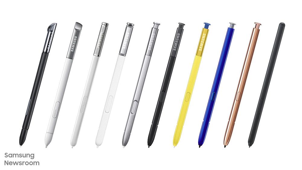 다양한 형태와 색상으로 출시된 갤럭시 시리즈 S펜들