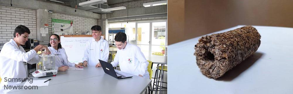 '커피 찌꺼기 연료탄'과 메데인의 과학 혁신 전문학교 '콜레히오 로욜라(Colegio Loyola)'에 재학 중인 아나(Ana), 산티아고(Santiago), 후안(Juan), 카밀로(Camilo)