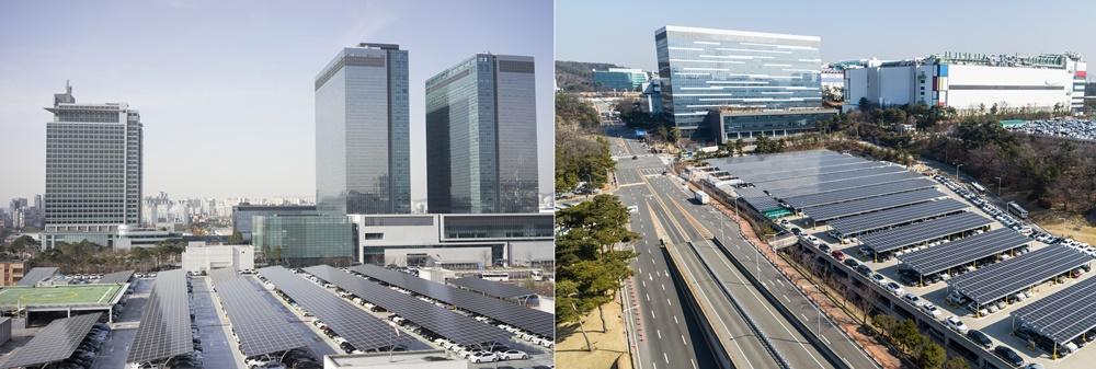 ▲ 삼성전자 수원, 기흥사업장 주차장에 설치된 태양광 발전 패널 모습