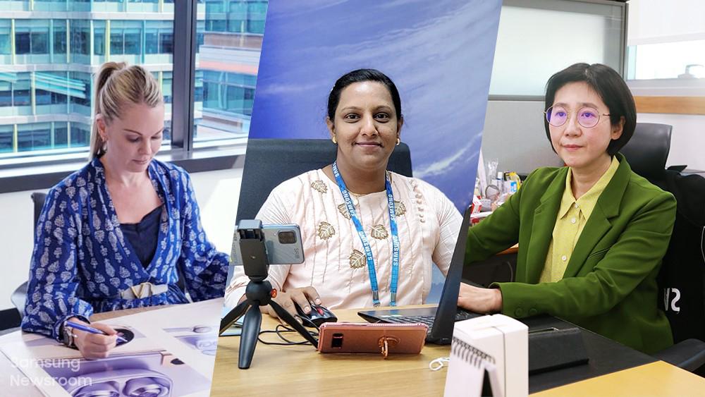 ▲ (왼쪽부터) 삼성전자 호주 법인 카트리나 번스, 인도 방갈로르 연구소 바니스리 잘라펠리, 생활가전사업부 유미영 전무