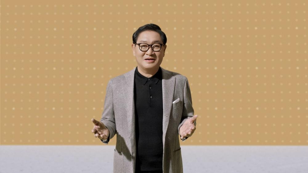 삼성전자가 2일(미국 현지시간) 온라인으로 진행한 'Unbox & Discover' 행사에서 삼성전자 영상디스플레이사업부장 한종희 사장이 환영사를 하고 있다.