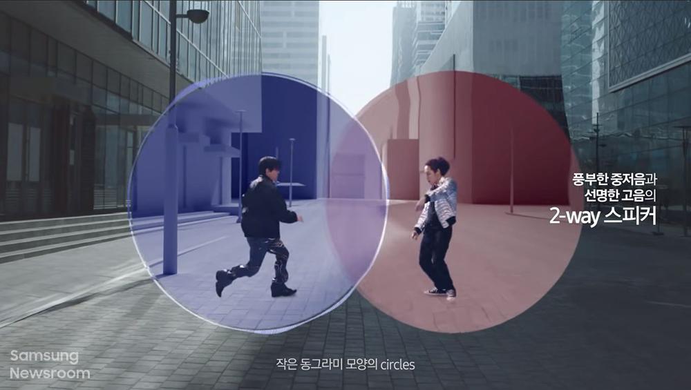 풍부한 중저음과 선명한 고음의 2-way 스피커 작은 동그라미 모양의 circles ▲'Circle' 뮤직비디오 중 한 장면