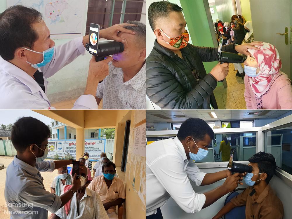 (위 왼쪽부터) 베트남, 모로코, (아래) 인도의 안질환 검사 현장