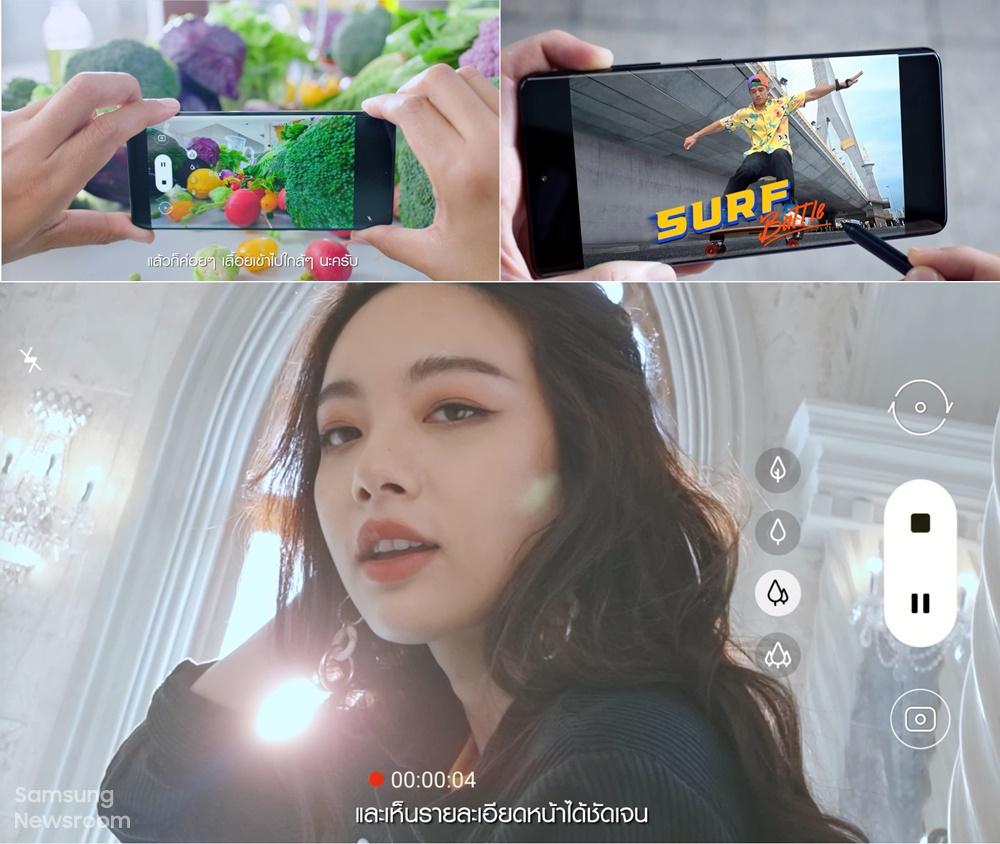 ▲ (왼쪽부터 시계 방향으로) 태국 영화배우 겸 감독인 '찬타윗 다나세위'가 샐러드 재료를 촬영하는 모습, '슈퍼 스테디 모드'로 서핑 스케이팅 장면을 찍는 모습, 역광으로 찍은 모델 영상