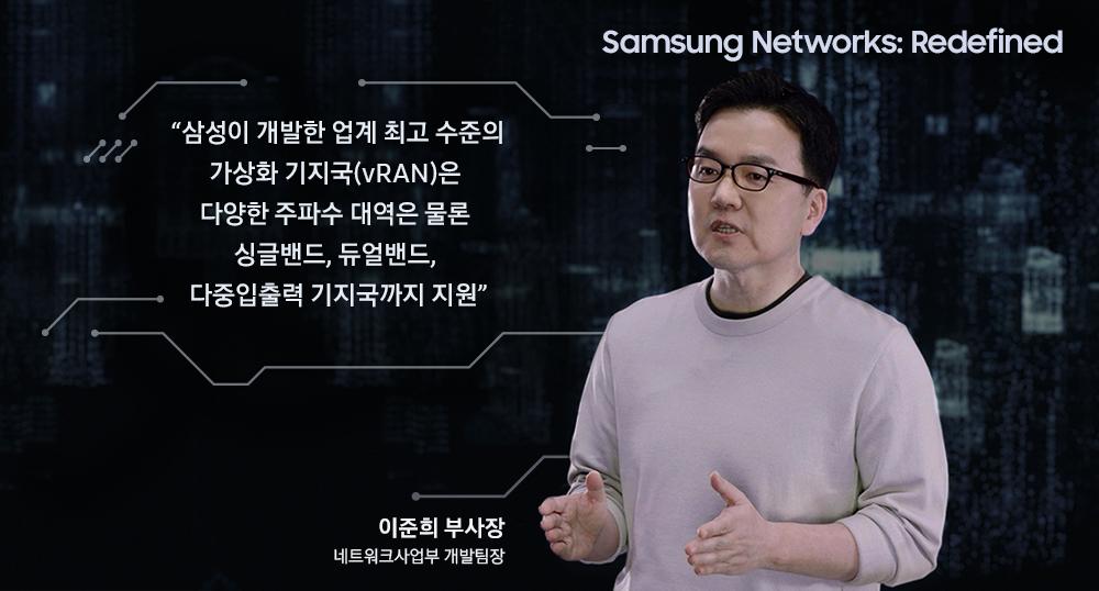 Samsung Networks: Redefined 이준희 부사장 (삼성전자) 네트워크사업부 개발팀장 삼성이 개발한 업계 최고 수준의 가상화 기지국(vRAN)은 다양한 주파수 대역은 물론 싱글밴드, 듀얼밴드, 다중 입출력 기지국까지 지원