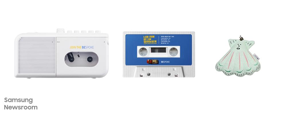 비스포크 한정판 썸머 굿즈 아날로그 무드의 포터블 카세트 플레이어와 비스포크 무비 OST가 담긴 카세트테이프, 영화 속 주인공인 가리비 인형