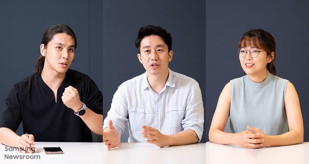 ▲ '꾸내 컴퍼니'의 주요한 트레이너, 김상현 대표, 김소망 디자이너 (왼쪽부터)