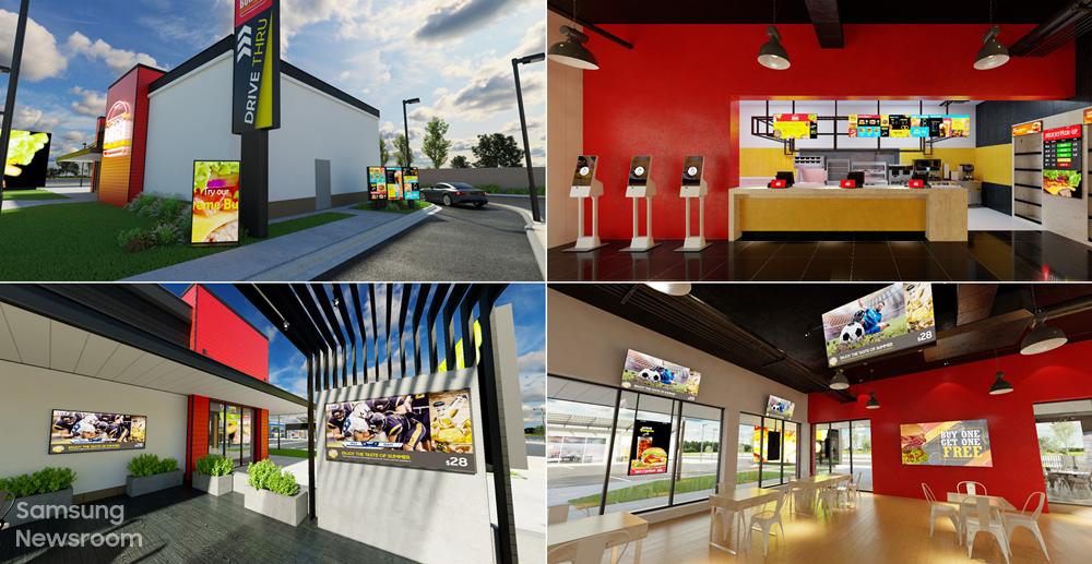 (윗줄 왼쪽부터 시계방향으로) 퀵서비스 레스토랑 드라이브스루, 매장 내부 주문 결제 디스플레이, 매장 내부의 프로모션 디스플레이, 매장 뒤편 테라스