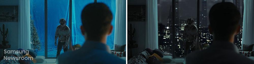 ▲ 영화 같은 연출을 위해 특수효과로 완성한 뉴욕 야경(왼쪽부터 CG 전, 후)