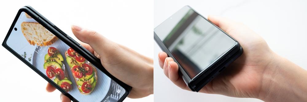 대화면의 커버 스크린을 더욱 편리하게 사용할 수 있도록 엄지손가락이 닿는 위치에 탑재한 지문 스캐너 쓰는 모습