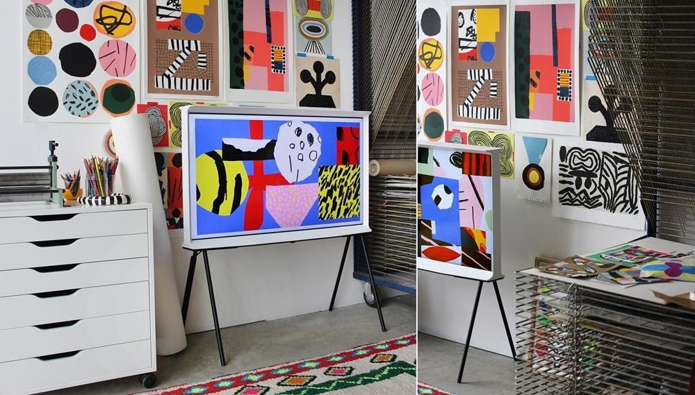 프랑스 그래픽 디자이너 아델(Adèle)과 맥심(Maxime)이 꾸민 삼성 라이프스타일 TV 인테리어 이미지