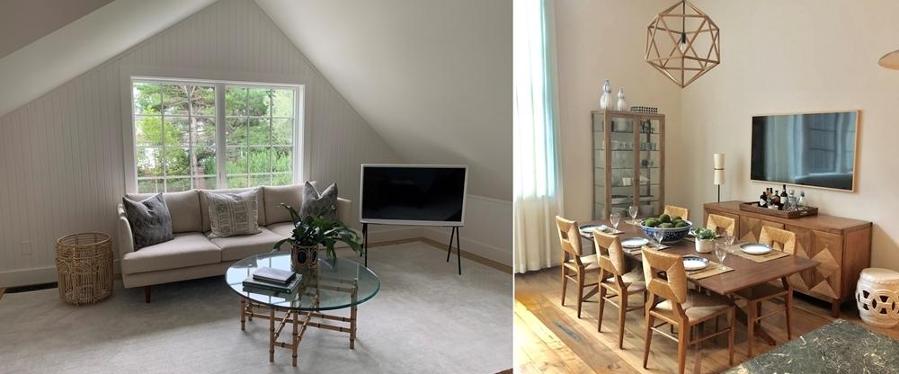 삼성 라이프스타일 TV가 설치된 거실과 주방 풍경