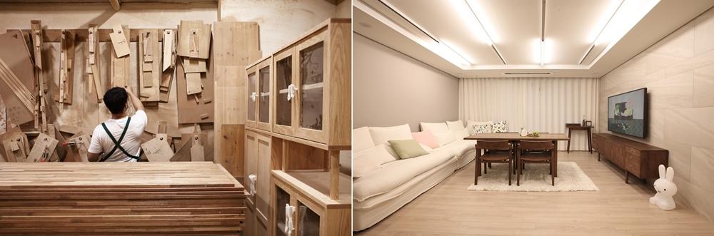 한국 가구 디자이너, 손진웅씨와 더 프레임 TV가 설치된 거실 풍경