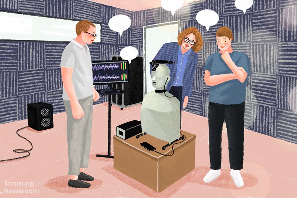 음향측정을 위한 무향실에서 HATS(Head & Torso Simulator)를 통해 액티브 노이즈 캔슬링(ANC, Active Noise Cancellation) 기술을 연구하고 있는 삼성전자 폴란드 연구소(Samsung R&D Institute Poland) 연구원들