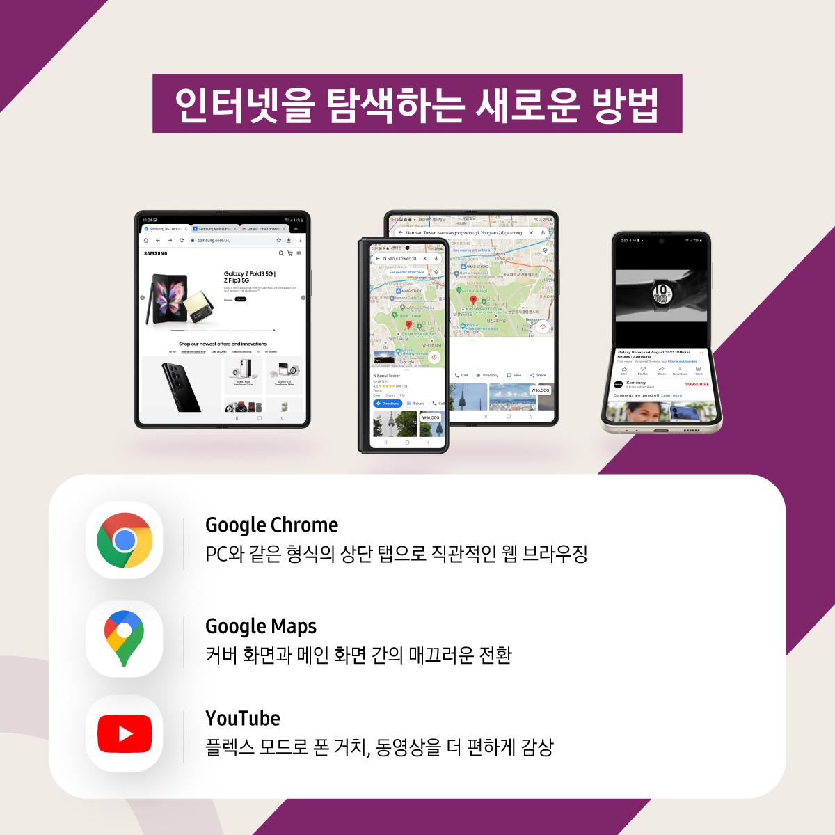 인터넷을 탐색하는 새로운 방법 구글 크롬 PC와 같은 형식의 상단 탭으로 직관적인 웹 브라우징  구글 지도 커버 화면과 메인 화면 간의 매끄러운 전환  유튜브 플렉스 모드로 폰 거치, 동영상을 더 편하게 감상