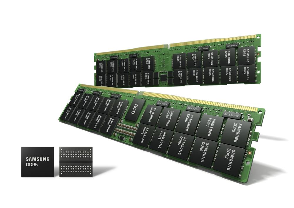 EUV DDR5 D램이 놓여 있는 모습