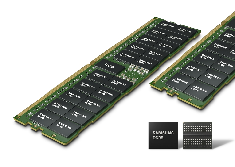 EUV DDR5 D램이 비스듬히 놓여 있는 모습